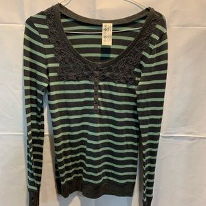 Free People Gray Green long sleeve lace
